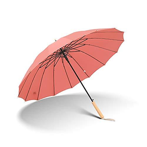 ZUEN Gerade Kreativer Regenschirm Rod Automatic Regenschirm Gerader Griff Lange Regenschirm Großer Doppel Regen Und Schnee Wetter Dual Purpose Regenschirm, Regen Oder Schnee Erhältlich,Rot