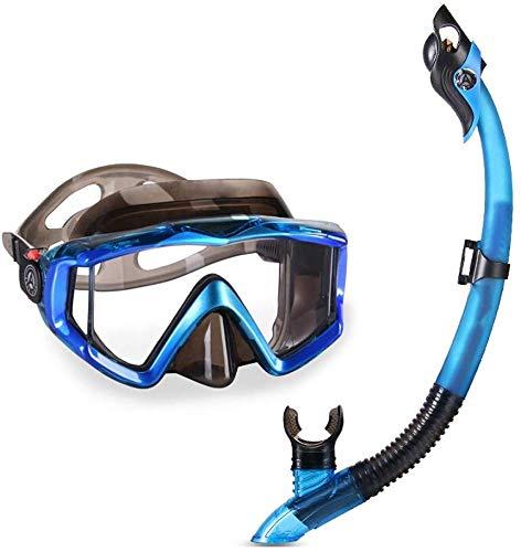 MWKLW Gafas de Buceo, natación Equipamiento Deportivo Gafas Equipo de Snorkel para Adultos Snorkel seco Completo Espejo antiniebla