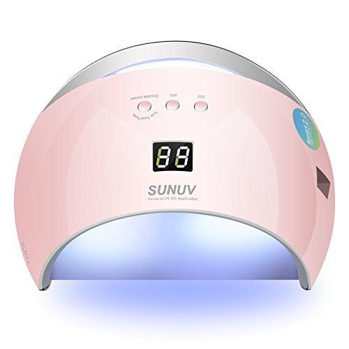 SUNUV SUN6 48W LED UV Luz Lámpara Secadora Portable de Uñas para Esmaltes Basados en Gel de uñas con 3 temporizadores, pantalla LCD, sensor y secado de doble velocidad (Rosa)