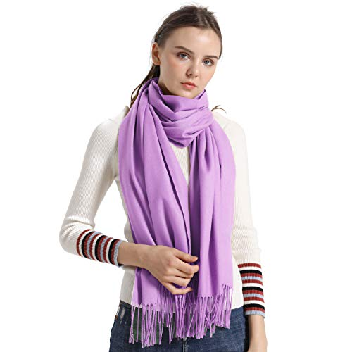 Cashmere Scarf, vimate Light Purple Lavender Lilac Cashmere Pashmina Scarves and Wraps for Women