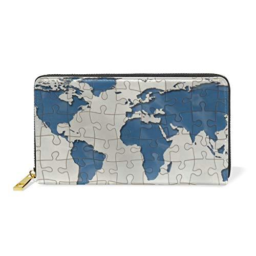 LORONA Continenten Puzzel Wereld Aarde Leer Lange Rits Koppeling Portemonnee portemonnee voor Vrouwen Reizen Koppelingstas