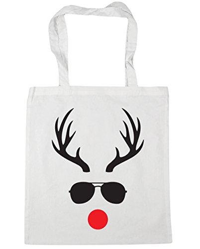 HippoWarehouse Reindeer in Sunglasses Tote Shopping Gym Beach Bag 42cm x38cm, 10 litres