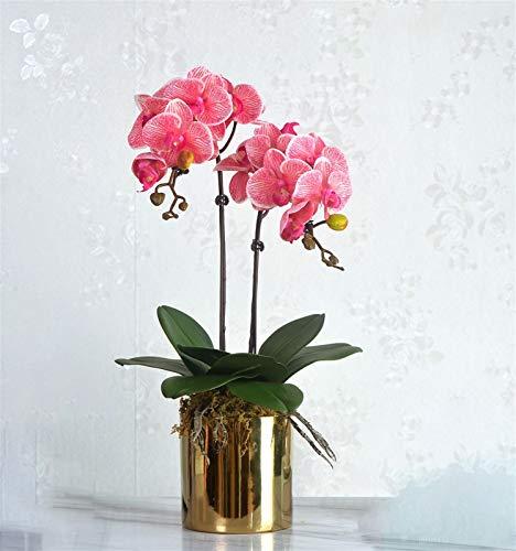 Flor de orquídea artificial Phalaenopsis Bonsai com vaso, arranjos de flores de seda de orquídea falsa para decoração de casa, mesa de escritório, altura cerca de 52 cm (cor: vermelho)