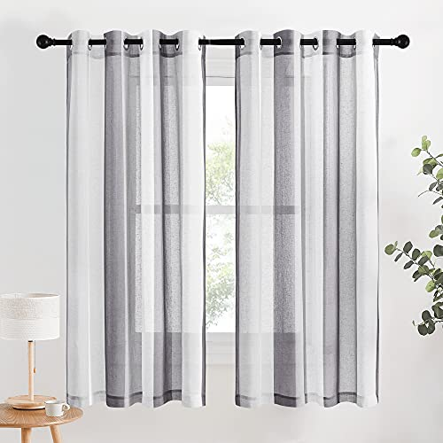 NICETOWN Linen Sheer Curtains Striped Pattern for Bedroom, Grommet Decorative Flax Texture Drapes Dark & Light Grey Stripe Contrast Color with Light Filtering for Nursery, W50 x L63, Set of 2