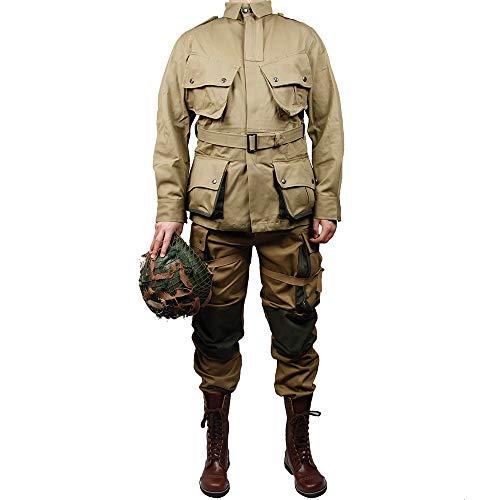 ZWJP-WW2 US Army m42 Uniform 101 Air Force Paratroopers Troops Suits Without Helmet(44) Khaki
