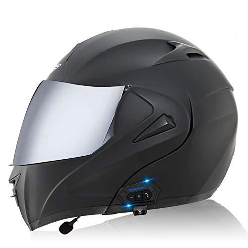 ZLYJ Bluetooth Casco Moto Integral con Visera Street Bike Racing Casco Moto Modular Marcado por Voz Llamada Manos Libres MP3 FM,ECE Homologado H,L