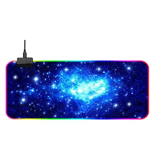 Blue Cosmic Starlight RGB Gaming Mouse Pad, RGB Mice mat with 14 Lighting Mode, Large Mouse Pad with No-Slip Rubber Base and Memory Function 15.75'x35.43'