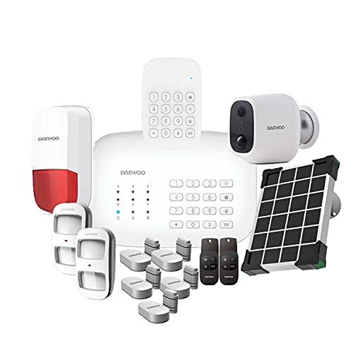 DAEWOO Pack Security + Pet | Alarma inalámbrica WiFi   gsm conectada Compatible con Animales | Sirena Exterior | Cámara autónoma | Compatible con Amazon Alexa y Google