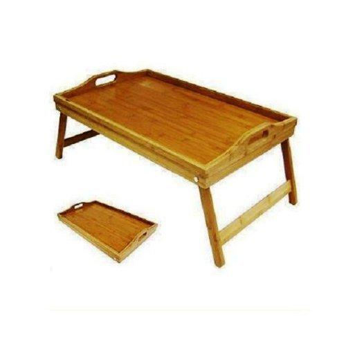 Folding Bamboo Breakfast Tray Large Over Bed Wooden Dining Table Stand Foldable Kitchen … Brand New