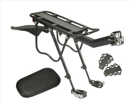 Extrbici - Portapacchi posteriore per bici, con parafango, luce posteriore e cuscino, in lega di alluminio, asta di supporto a rilascio rapido, peso massimo supportato 90 kg, Nero