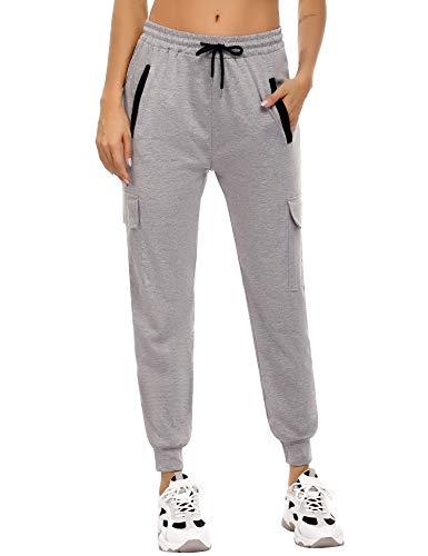 Akalnny Pantalon Chandal Mujer Largos Pantalones De Deporte Yoga Fitness Jogger Pantalones De Punto De Rayas