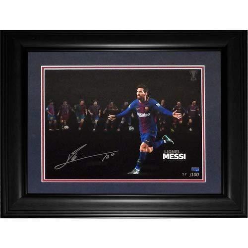 Lionel Messi Autographed FC Barcelona Soccer (10x La Liga Winner Montage) Deluxe Framed 12x16 Photo - Icons COA