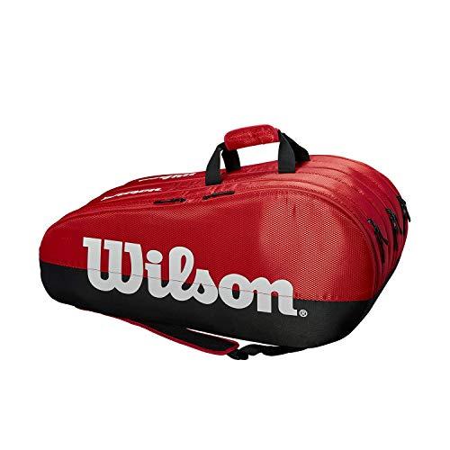 Wilson Team 3 Comp, Tennis Bag Unisex-Adult, Black/Red, 15 rackets