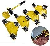 PULLEY Muebles Ruedas 5PCS / Set Muebles Levantador Mover el Sistema de Herramienta de elevación con 1 Rod y 4 Diapositivas, 360 Grados giratoria, Mover hasta 250KG Muebles Ruedas