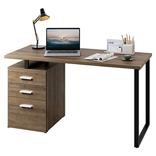 "DEVAISE Modern Computer Desk, 55.1"" Office Desk with Reversible File Cabinet, Gray Oak"