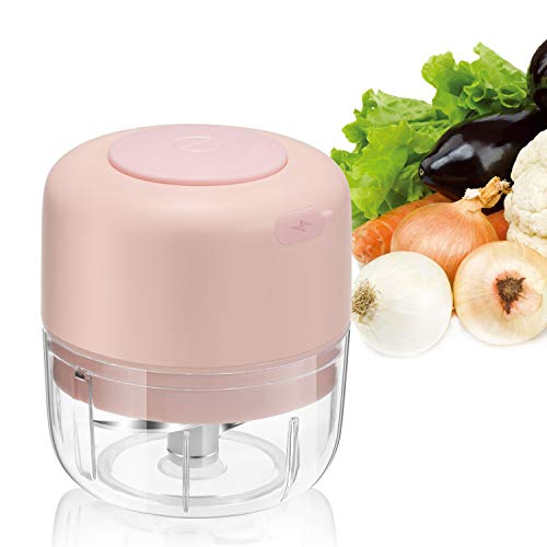 Wireless Electric Mini Food Choppers, Small Food Processor For Garlic Veggie,Dicing, Mincing & Puree, Fruit Salad,100 ml Pink