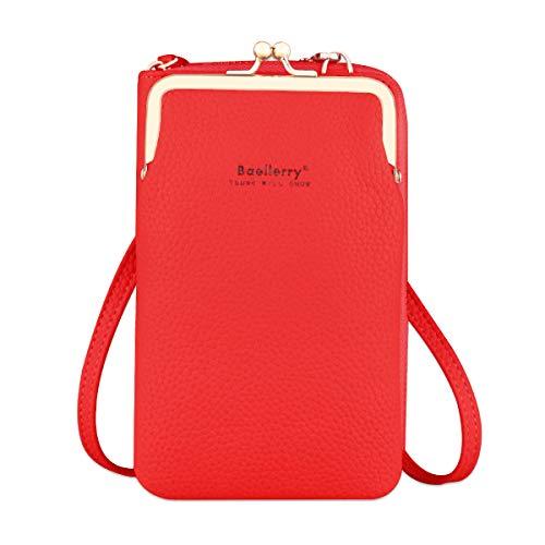 Bolso de Teléfono Móvil para Mujer Cartera Movil Cuero PU bolso para Movil y Cartera Pequeño Bolsa Bandolera con Ranuras para Tarjeta y Cremallera Billeteras de Mujer (Rojo)
