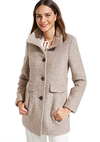 comma Damen Bouclemantel mit Stehkragen Light Taupe 36