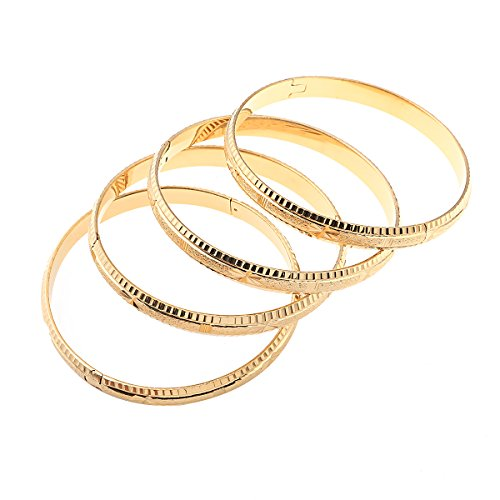4 Stück Gold Dubai Braut Hochzeit äthiopisches Armband Afrika Armreif arabischer Schmuck Gold Charm-Armband