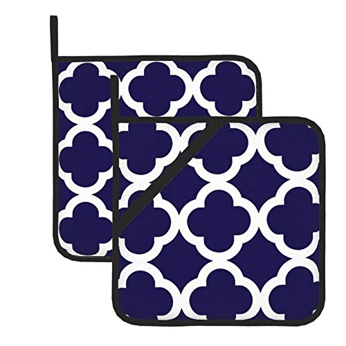 HaiYI-ltd Pot Holders for Kitchen 8 x 8 Inches,Trendy Clover Pattern In Cobalt Blue And White Heat Resistant Potholders Hot Pads Trivet for Baking Cooking Set of 2