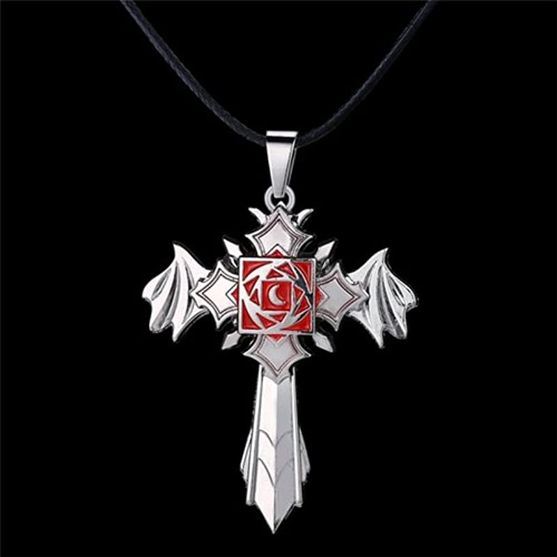 Usongs Animation Around St Rose Vampire Knight Cross Emblem Flag Necklace Pendant Jewelry Rotatable