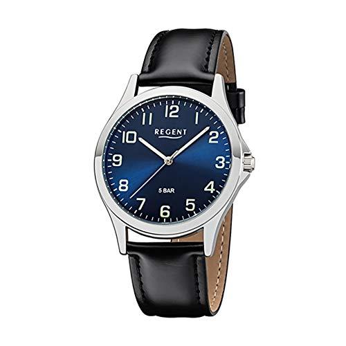 Regent 18307814 Herrenuhr Edelstahl Blau Schwarz Lederband