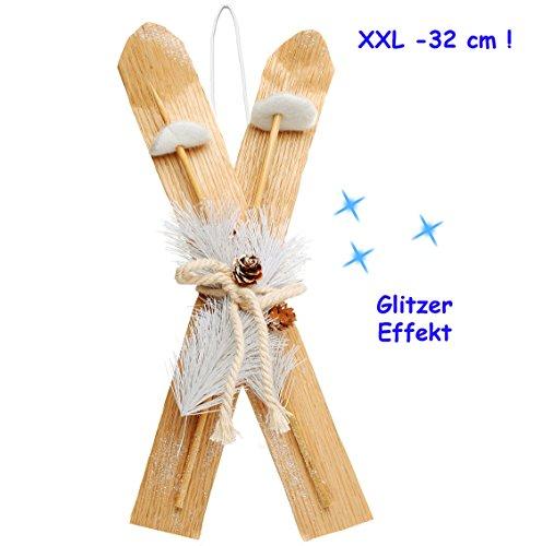 alles-meine.de GmbH 1 Set _  XL - Ski mit Stöcken & Deko - Glitzer  - aus Holz - 32 cm - Miniatur / Diorama - Anhänger - Weihnachtsdeko / Winter - Winterurlaub - Deko - Sport -..