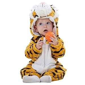 (ホーマイ)HOOMAI ハロウィン 仮装 着ぐるみ 子供服 ジャンプスーツ ベビー ロンパース アニマル キッズ コスチューム 動物仕様 長袖 耳付き 帽子 ファスナー 120 虎 2