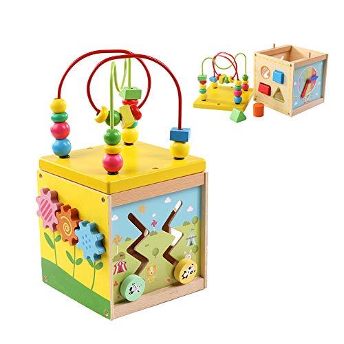 Cubo di Attività Giocattoli, con labirinto di legno, orologio con apprendimento e gioco sulle montagne russe, 5 in 1 giocattolo educativo multifunzione per bambini e ragazzi