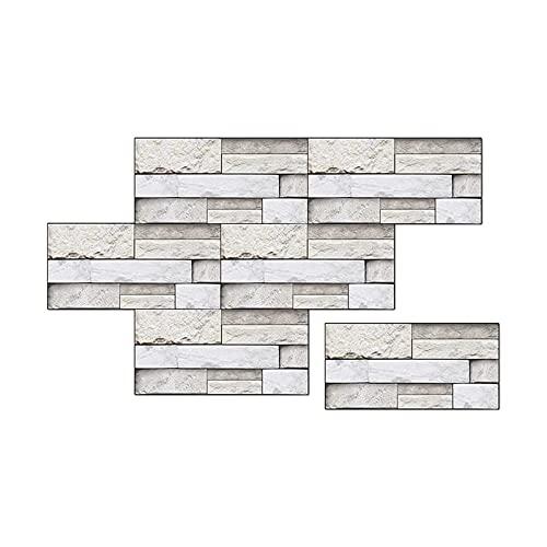 OMVOVSO Paneles de pared 6 unidades, pegatinas de ladrillo de pared, papel pintado autoadhesivo para dormitorio, habitación, encimera, 15 x 30 cm, impermeable, color blanco