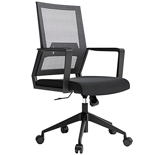 Silla de oficina ajustable en altura con brazos, silla ergonómica de escritorio con cómodo apoyo lumbar, función de inclinación y bloqueo de posición, carga máxima 120 kg