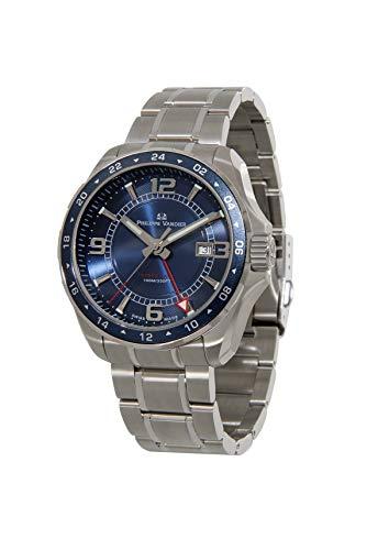 Philippe Vandier Reloj Hombre Swiss Made Speed Lane GMT Blue Movimiento Cuarzo Suizo con Correa de Acero 316L y Cristal de Zafiro