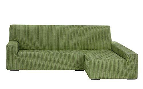 Funda Elástica para Sofá Chaise Longue, modelo Mejico, Brazo Derecho, color verde, tamaño desde 240 a 280 cm