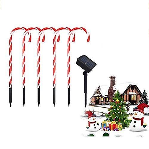QAZ 5PCS Weihnachtszuckerstange Pathway Begrenzungsleuchten, Outdoor Weihnachtsdekoration mit Sonnen Boden-Stecker für Yard Rasen Pathway Marker im Freien