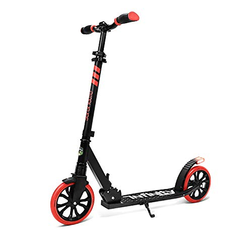Folding Kick Scooter for Adults and Kids – Boys and Girls Freestyle Scooter with Big Wheels 1Kick Open Mechanism AntiSlip Rubber Deck and LED Light – Folding Grips Handlebar Adjusts to 3 Heights