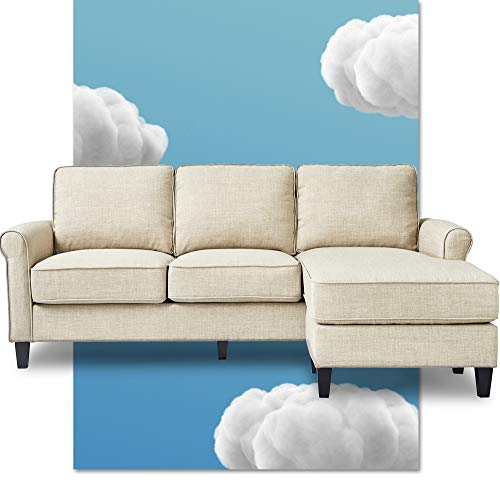 Serta Harmon Reversible Sectional Sofa Living Room, Modern L-Shaped 3 Seat Fabric Couch, Rolled Arm, Cream