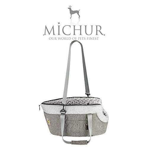 Michur Sonja Hundetransportbox, Hundetragetasche, Hunde Transport Auto, Katzentransporttasche, Hundetransporttasche, Handtasche, Tragetasche, grau, 60 x 35 x 32 cm