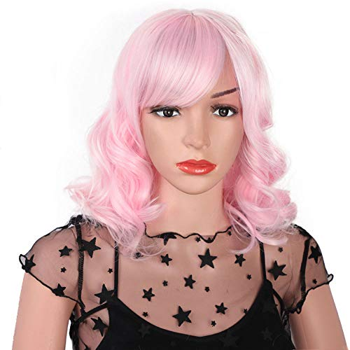 AISI HAIR Pastel Pink Bob Wavy Curly Hair Wig Short Synthetic Curly Wig With Bangs For Women Shoulder Length Heat Resistant Costume Play Wig (Pastel Pink)