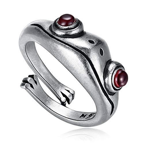 iBaste Anillo vintage de rana con jade rojo granate de jade vintage, bonito anillo de dedo para mujer, anillo abierto ajustable, regalo para San Valentín, fiestas, cumpleaños