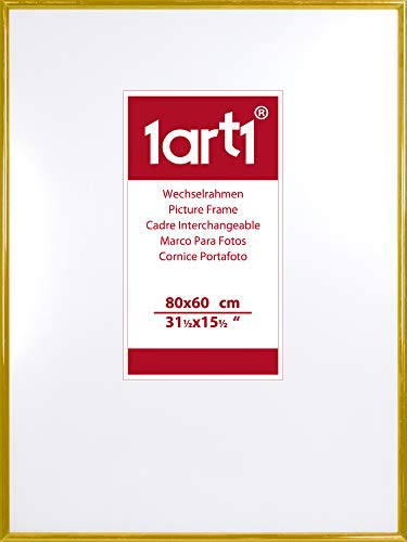 1art1 Marcos - Marco Intercambiable De Marca Economy Plástico Dorado Marco para Cuadros (80 x 60cm)