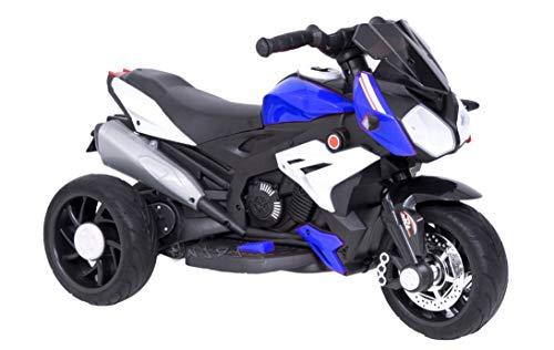 Moto Motocicletta Elettrica per Bambini 12V con luci LED e Suoni (Blu)