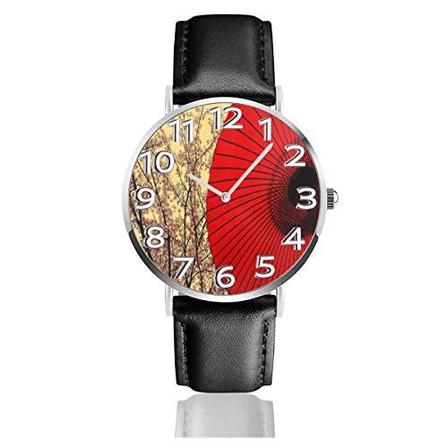 Orologio da polso in pelle rossa stile Japen a forma di ombrello Orologi al quarzo resistenti ai graffi Orologi leggeri e resistenti
