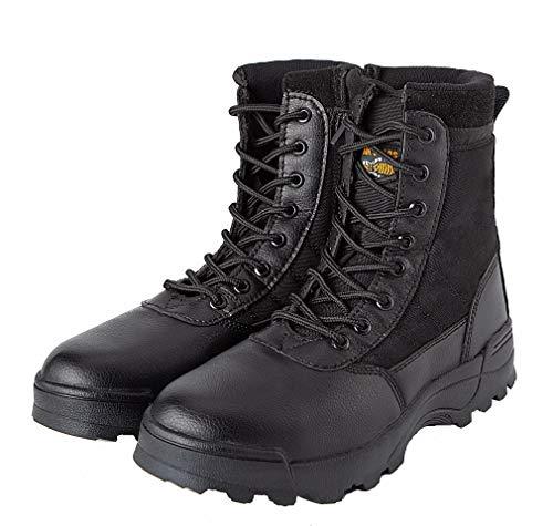 MK Botas de Combate para Hombre, diseño Militar, Color Negro, Talla 4