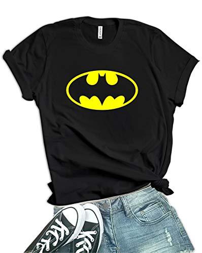 Decrum Black Graphic Tees for Women  Clasic Bat, M