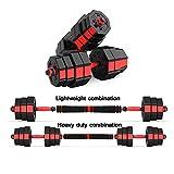 Mancuernas de goma de primera calidad, dos mancuernas ajustables, se pueden usar como barra, levantamiento de pesas con 4 collares giratorios y 2 opciones de conector, juego de pesas 2 en 1, gimnasi
