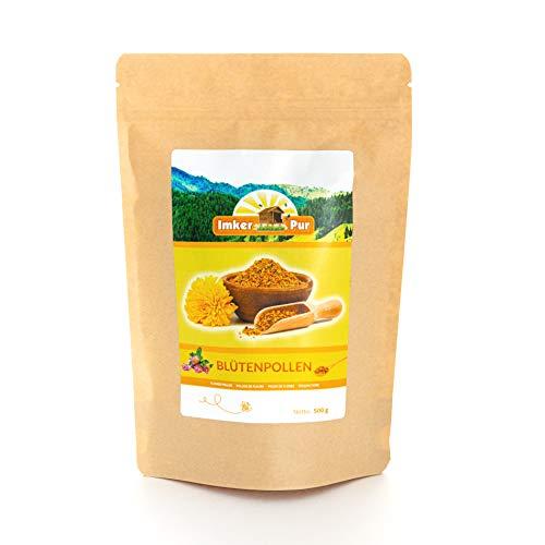 Blütenpollen / Bienenpollen in Premium-Imkerqualität, von ImkerPur, 500 g, komplett rückstandsfrei, süßlich-mild, (Konventionell, 500 g)