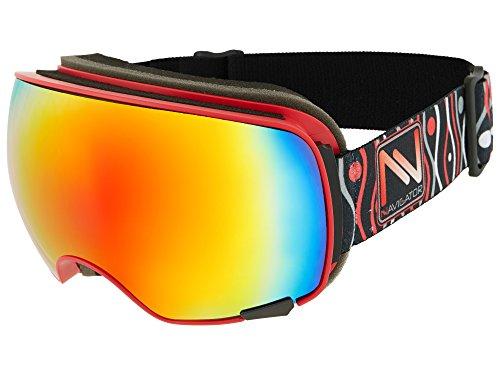NAVIGATOR Vision Skibrille u. Snowboardbrille, 2 Wechsellinsen, einzigartiger AntiFog Beschichtung, UVA Schutz, Wintersport Brille m. verspiegelten Gläsern u. innovativer Linsenhinterlüftung, ROT