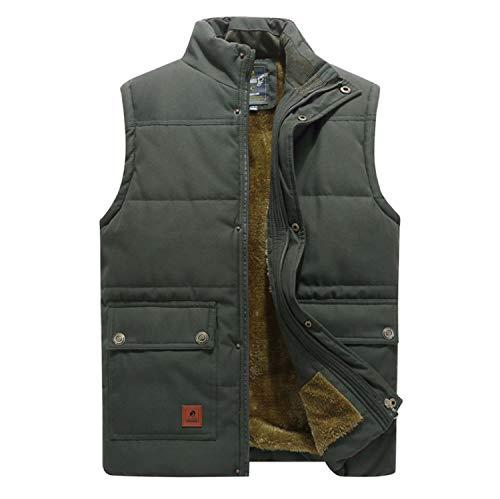 GL SUIT Mens Padded Gilet Stehkragen Körperwärmer Weste Fleece Multi-Tasche Weste Gesteppte Weste beiläufige...