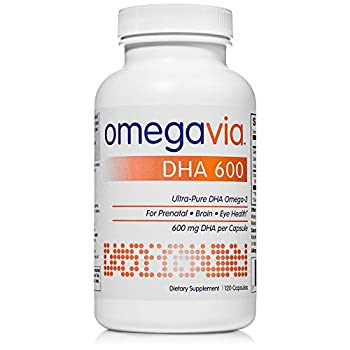 OmegaVia DHA 600 mg Omega-3 Fish Oil 120 Capsules Ultra-Pure DHA  Burpless Triglyceride Form  Purified to Reduce Mercury Ideal DHA Omega Nutrient for Prenatal Pregnant and Nursing Women