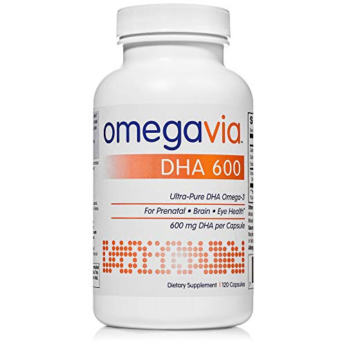 OmegaVia DHA 600 mg Omega-3 Fish Oil, 120 Capsules, Ultra-Pure DHA Concentration (Triglyceride Form), Purified to Reduce Mercury, Ideal DHA Omega Nutrient for Prenatal, Pregnant, and Nursing Women